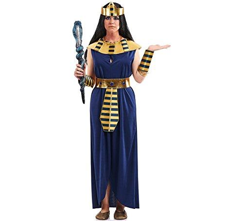 Disfraz de Faraona azul, Cleopatra o Reina Egipcia para mujer. Incluye vestido con cinturón, cuello, diadema y muñequeras. No incluye peluca, cetro ni calzado. ¡Compra en un comercio online seguro, compra en Disfrazzes!