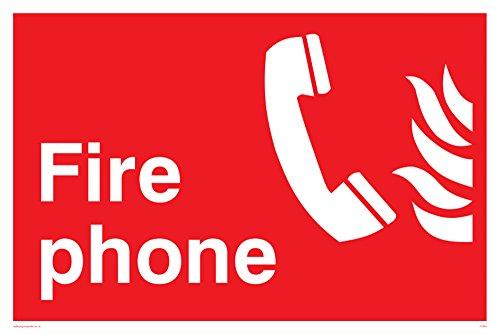 """Preisvergleich Produktbild Viking Schilder fv363-a4l-v """"FIRE PHONE Fire Sicherheit Zeichen,  Vinyl / Aufkleber,  300 mm H x 200 mm W"""