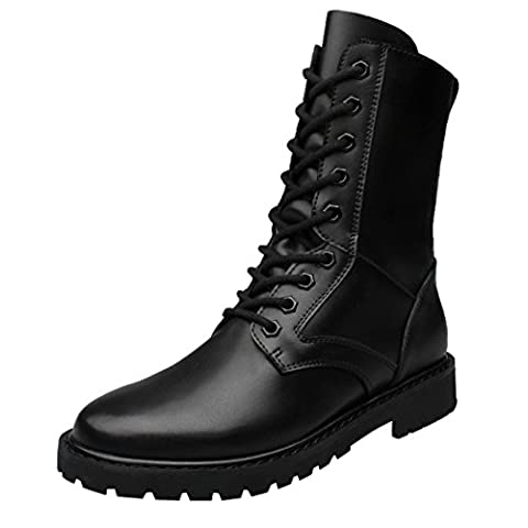 WALK-LEADER Men's Leather Fur-lined Combat Tactical Multi-Eye Military Lace-Up Boots Black 9 UK