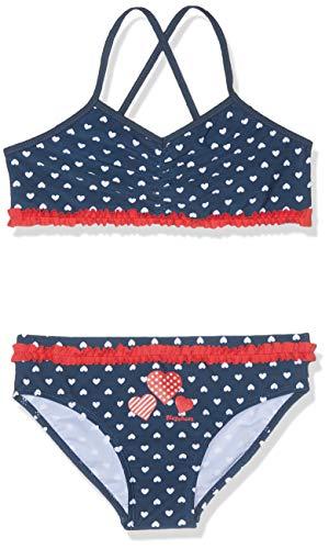 Playshoes Mädchen UV-Schutz Bikini Herzchen Badebekleidungsset, Blau (Marine 11), (Herstellergröße: 122/128)