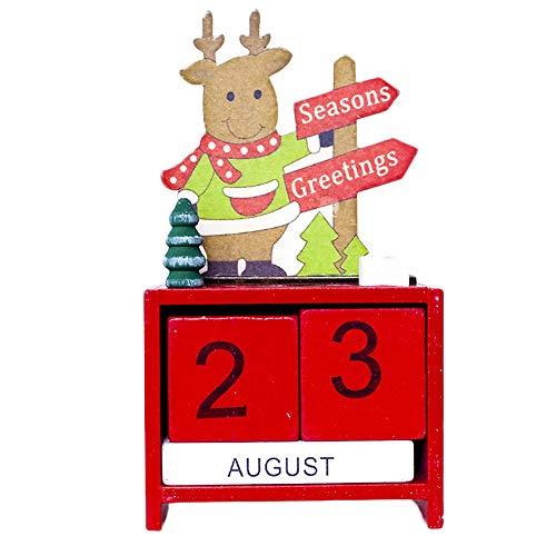 Mitlfuny Weihnachtsdekoration-Weihnachtskalender-HöLzerner Kalender Karikatur-Puppen-Alter Mann-Elch-Rotwild Stellte Innovatives Geschenk ()