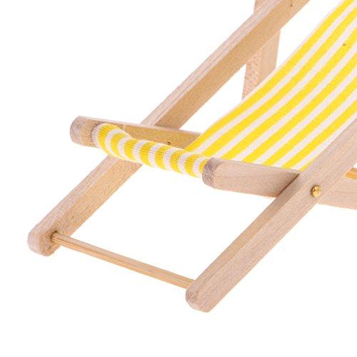 MagiDeal Mini Chaise Longue in Legno Mobilia Decorazione per Scale 1:12 Casa delle Bambole, 9.5 * 4.6 * 5 cm