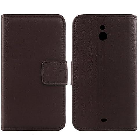 Gukas Design Veritable Cuir Etui Pour Nokia Lumia 1320 Housse Coque Premium Case Cover Flip Protecteur Portefeuille Genuine Leather Wallet (Marron