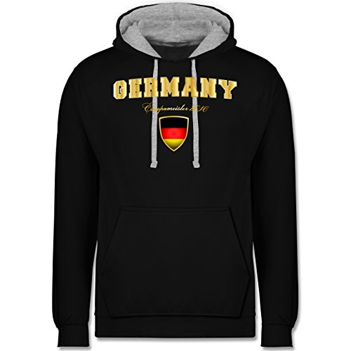 Fußball-WM 2018 - Russland - Germany Europameister 2016 - Kontrast Hoodie Schwarz/Grau Meliert