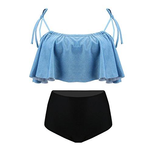 UTOVME Frauen-Schulter hoch Taille Flounce Rüsche Bikini Set blau oben schwarz unten L Größe (Unten Rüschen)
