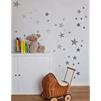 walldesticker set of 55 Mixed size Stars Wall Stickers Kid Decal Art Nursery Bedroom Vinyl Decoration (Silver)