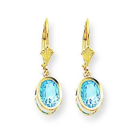 14ct Yellow Gold 8x6mm Oval Blue Topaz Leverback