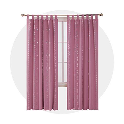 Deconovo Thermovorhang Verdunkelungsvorhang mit Muster Schlaufen Silberne Rauten 245x140 cm Rosa 2er Set (Blackout Vorhänge Rosa Kinderzimmer)