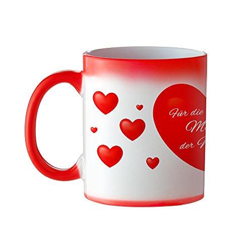 Tasse – Herz Farbwechsel Kaffeetasse mit Aufdruck – Für die beste Mutti der Welt – Standard - Kaffeebecher mit Thermoeffekt als Geschenk-Idee für Mütter – Muttertagsgeschenk