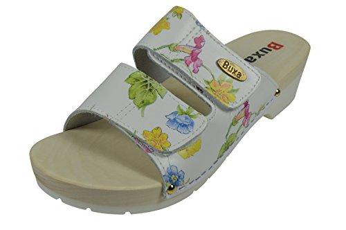 Buxa Cuir Sabots / Sandales Femme avec Double Velcro Bracelet et Sole en Caoutchouc