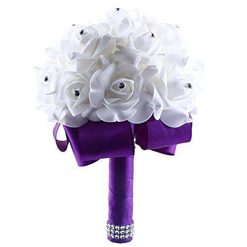 Bride Bouquet Soledi White Crystal Roses Pearl Bridal Bridesmaid Wedding Artificial Flowers