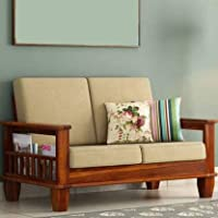 POOJA WOOD DECOR Sheesham Wood 2 Seater Sofa Set with Fabric Cushion for Living Room | Home and Office Furniture Wooden…