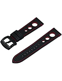 SWISS REIMAGINED Real Leather Carbon Fibre Embossed Rally Style Watch Band Strap with Stainless Steel Buckle, Black Red