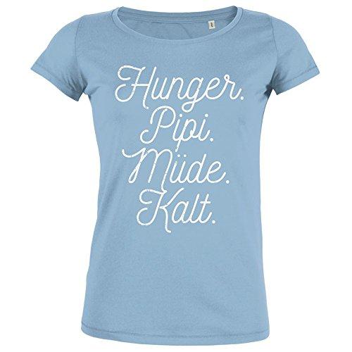 FABTEE Hunger Pipi Müde Kalt - Damen T-Shirt Aus Bio Baumwolle - Größen XS-2XL, Größe:M;Farbe:Hellblau (Baumwolle T-shirts Geburtstag Organische)