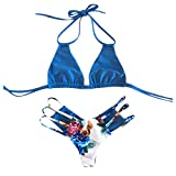 Yvelands Damen Bikini Set Bademode Bandage Push-Up Badeanzug Bade Beachwear(CN-L,Blau)