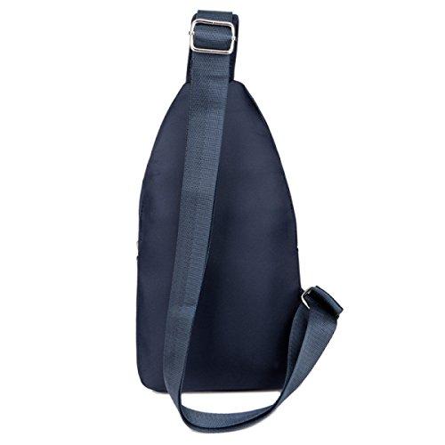 BULAGE Pack Brustbeutel Wasserdicht Nylon Einfarbig Tasche Outdoor Freizeit Sport Männer Schulter- Messenger Blue
