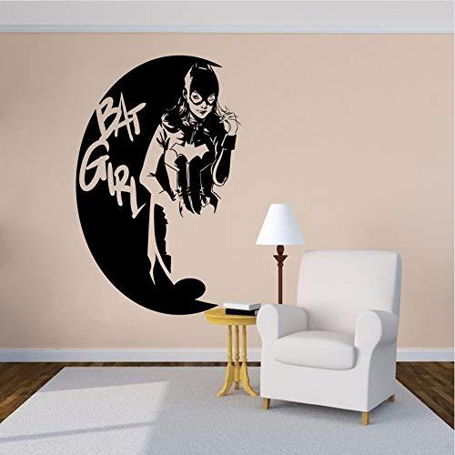 Lyqyzw Cartoon Design Wandtattoo Batgirl Superheld Vinyl Wandaufkleber Home Grils Zimmer Home Decor Batgirl Logo Wandkunst Poster 42 * 66 Cm (Weibliche Fotos Superhelden)