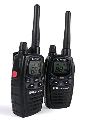 Midland G7 Pro Kit Radio Ricetrasmittente Walkie Talkie, Confezione con 2 Ricetrasmettitori, 2 Pacchi di Batterie 800 Ricaricabili, Caricabatterie Doppio con Supporto da Tavola e Adattatore da Muro PTT Doppio, Dual Band e 8 Canali