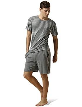 Marster Fashions Baumwolle Herren Zweiteiliger Schlafanzug Anzug Kurz Schlafanzüge