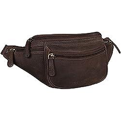 STILORD 'Eliah' Riñonera o Bolsa de Cuero Vintage Bolso de Cintura Cadera o cinturón para Hombre y Mujer para Deportes Running Fiestas Ocio o Aire Libre, Color:marrón Oscuro - Opaco