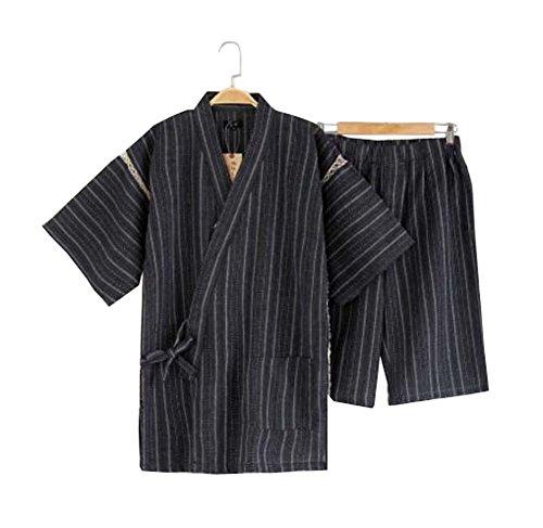 Black Temptation Herren Kimono Jinbei Shirt und Hose japanischer Loungewear/Spa Bademantel (kurz) - F Kimono Hose