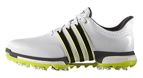 adidas Tour360 Boost, Scarpe da Golf Uomo, Bianco (White/Core Black/Solar Yellow), 44 EU