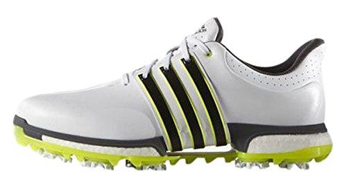 adidas Herren Tour 360 Boost Golfschuhe, Weiß (White/Core Black/Solar Yellow), 45 1/3 EU (Wrap Adidas Golf)