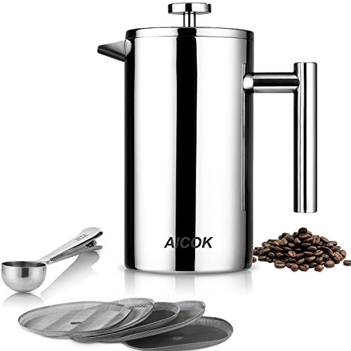 Aicok Cafetière à Piston Acier Inoxydable French Press Double Parois Cafetiere Filtre 8 Tasses/1 Litre