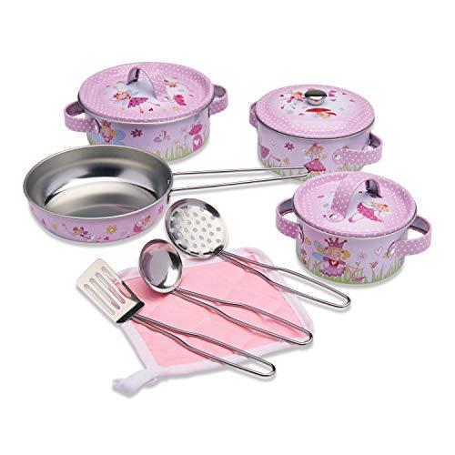 Wobbly Jelly Set da Cucina Fatina per Bambini Set da 11 Pezzi di pentole e padelle Giocattolo per Bambini Accessori da Cucina Giocattolo