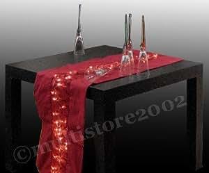 Chemin de table décorative sizoweb nappe éclairage lED guirlande bordeaux 150 x 30 cm