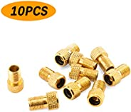 AIEX 10pcs Brass Presta Valve Adapter Presta to Schrader French/UK to US for Inflating Tire, Standard Pump, Ai
