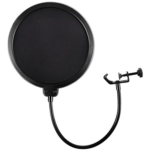 Earamble Mikrofon Popschutz, Studio Mikrofon Pop Filter Runde Form Mic Wind Maske Schild Bildschirm Mit Stand Clip