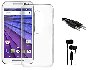 Tidel Silicon TPU Transparent Soft Back Cover For Motorola Moto G 3rd Generation With 3.5mm EARPHONE & AUX CABLE