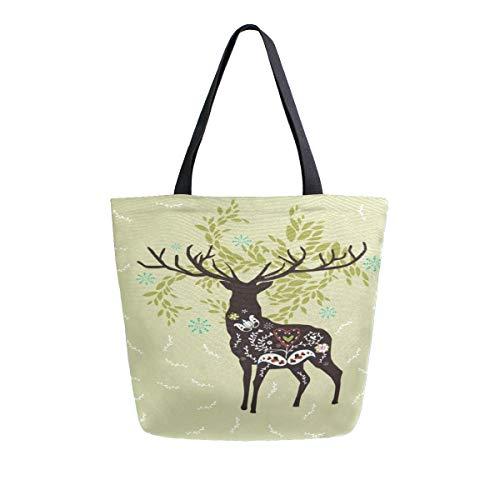 Christmas Deer Flower Tragbare Große Doppelseitige Casual Leinwand Tragetaschen Handtasche Schulter Wiederverwendbare Einkaufstaschen Reisetasche Für Frauen Männer Lebensmittelgeschäft Reise -