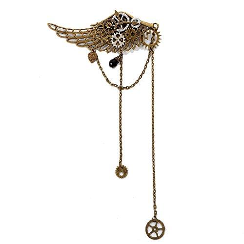 BLESSUME gotisch Frau Steampunk Gang Flügel Uhr Schmetterling Hut Spitze Haar Clip Kopfbedeckung (2)