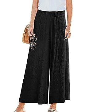 Mujer Tallas Grandes Casual Anchos Pantalones De Lino De Cintura Alta