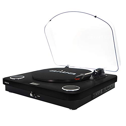 Aiwa gbtur-120bk - Tocadiscos Color Negro, Bluetooth, 3 velocidades, Radio FM