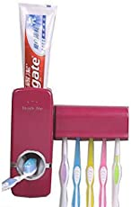 GosFrid Automatic Toothpaste Dispenser with 5 Toothbrush Holder, Touch Me Touch Set - 1 Set (Color May Very, Assorted Color)