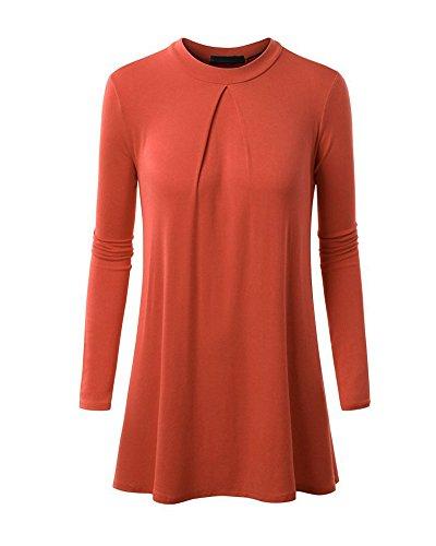 Tops T- Shirts Camicia a Maniche Lunghe Magliette Camicetta Donna con Scollo Tondo Arancia