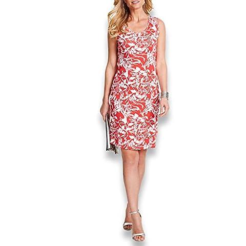 NALATI Damen Knielang Kleid ärmellos Wickelkleid mit Rundhalsausschnitt Bedrucktes Kleid (L, Rot)