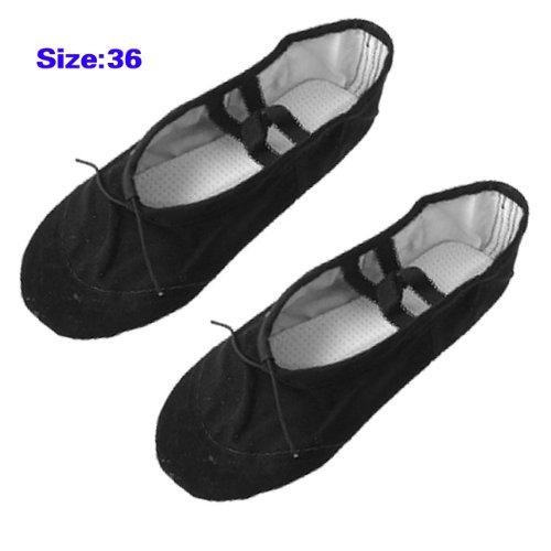 Chaussures de ballet - TOOGOO(R) Chaussures de ballet de danse de gymnastique en toile noires pour dames Taille US 5,5