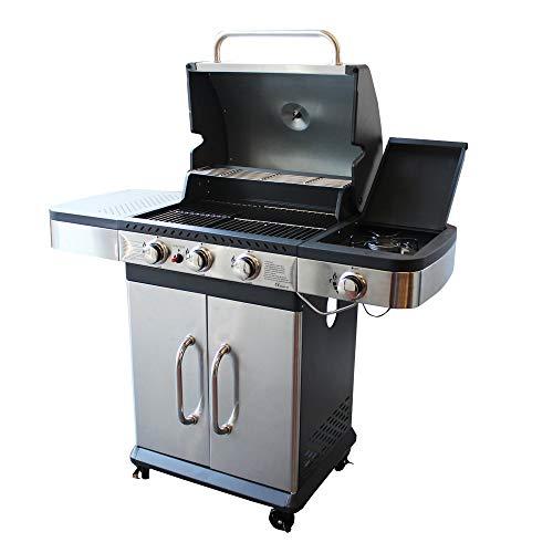 MilaniHome Barbecue A Gas in Acciaio Inox 3 Fuochi + 1 Laterale per Esterno Giardino, Portico, Terrazzo