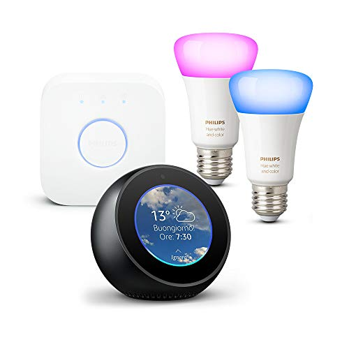 Amazon Echo Spot, Nero + Philips Hue White and Color Ambiance Starter Kit