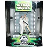 Star Wars Silver Anniversary 1977 - 2002 Movie Scene 4 Inch Tall Action Figures - Swing to Freedom with Luke Skywalker and Princess Leia Organa Plus Display Base