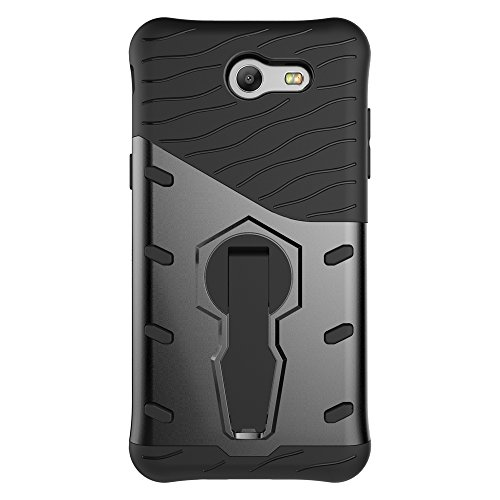 Für Samsung Galaxy J3 2017 & J3 Prime Case 2 In 1Tough Hybrid Heavy Duty Shock Proof Defender Cover Dual Layer Armor Combo Mit 360 ° Swivel Stand Schutzhülle Fall ( Color : Black ) Black