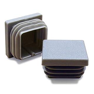 Ajile Kunststoff Fußkappen Lamellenstopfen Vierkantrohrstopfen Endkappen für Quadratröhre Büromöbel GRAU für 25 x 25 mm Rohr - 16 Stücke - EPC325x16-FBA