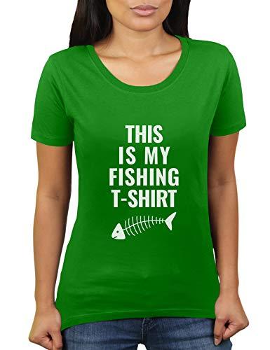 Netto-mädchen T-shirt (This is My Fishing T-Shirt - Damen T-Shirt von KaterLikoli, Gr. M, Apple Green)