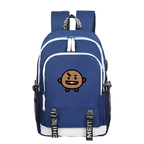 YJZZ Tasche USB Laderucksack Männliche Und Weibliche Studenten Canvas Tasche 20L oder weniger/Kartoffelblau