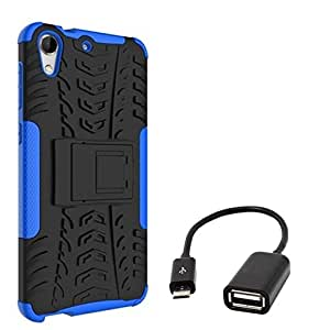 Chevron Tough Hybrid Armor Back Cover Case with Kickstand for HTC Desire 728 with Micro OTG Cable (Blue)