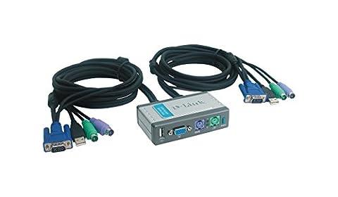 D-Link DKVM 2KU Commutateur Ecran/Clavier/Souris 2 Ports PS2 USB Gris